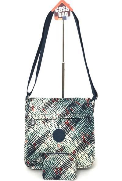 Smart Bags Krinkıl Kumaş Kadın Omuz - Çapraz Çantası Beyaz - Lacivert