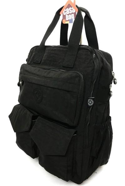 Smart Bags Krinkıl Kumaş Kadın - Erkek Sırt Çantası Siyah