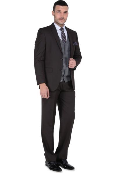 Buenza 6 Drop Klasik Kesim Erkek Takım Elbise - Kahverengi