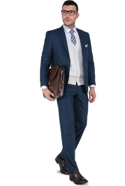Buenza 6 Drop Klasik Kesim Erkek Takım Elbise - Petrol Mavi
