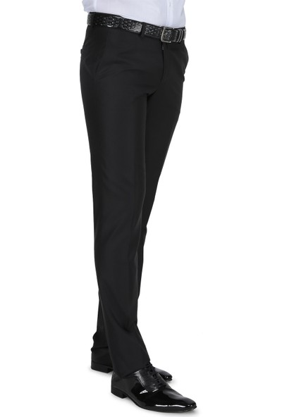 Buenza Klasik Kesim Pilesiz Kumaş Pantolon - Siyah