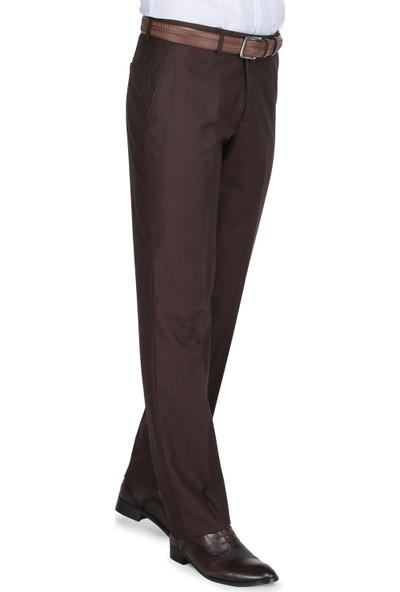 Buenza Klasik Kesim Pilesiz Kumaş Pantolon - Kahverengi