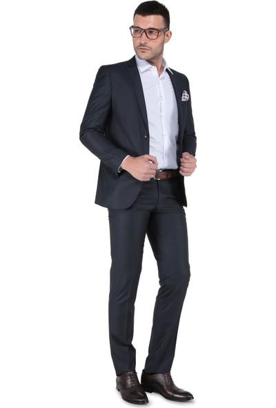 Buenza 6 Drop Dar Kalıp Slim Fit Erkek Takım Elbise - Füme