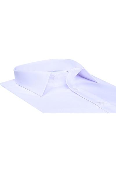 Buenza Düz Renk Dar Kesim Yeni Erkek Gömlek-Beyaz