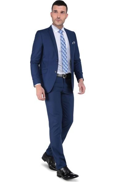 Buenza 8 Drop Slim Fit Takım Elbise-Mavi