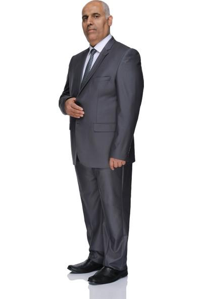 Buenza 120S Büyük Beden Erkek Takım Elbise-Koyu Gri