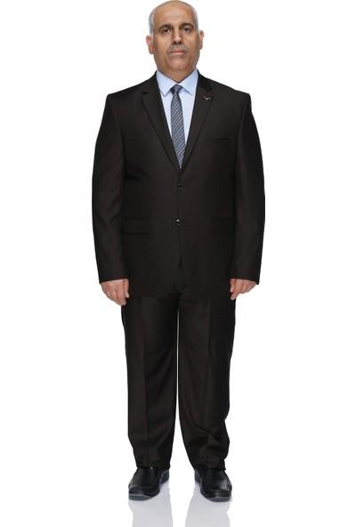 Buenza 120S Büyük Beden Erkek Takım Elbise-Kahverengi