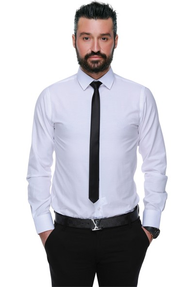 Buenza 41104 Slim Fit Noktalı Erkek Gömlek- Beyaz