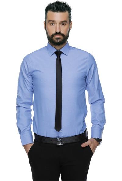 Buenza 41104 Slim Fit Noktalı Erkek Gömlek- Mavi