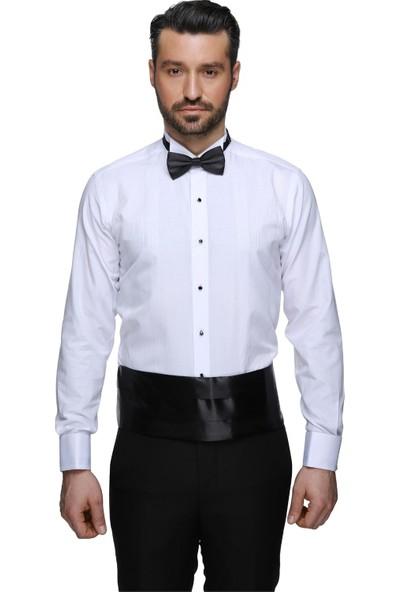 Buenza Coton Atayaka Conte 04 Slım Fıt Gömlek - Beyaz