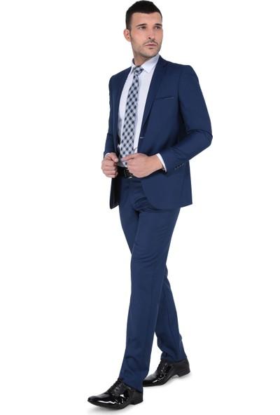Buenza Bonera Mono Tk Yrt Slım Fıt Takım Elbise - Mavi