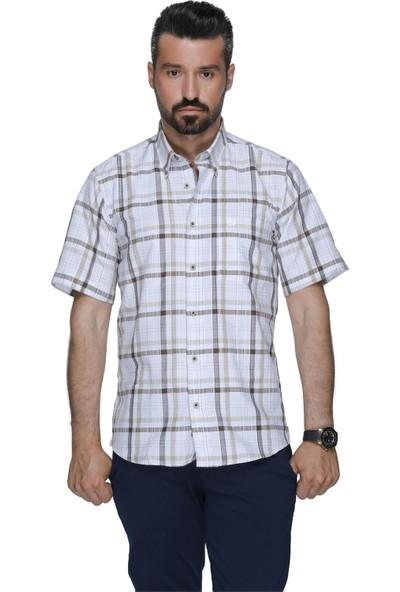 Buenza Cgr 2043 Eks Kısa Kol Dugmeli Yaka Gömlek - Kahverengi