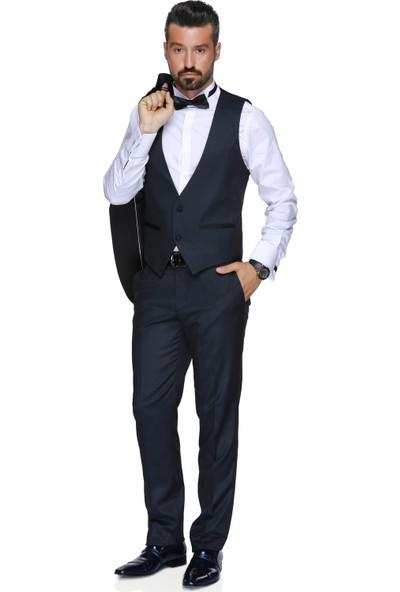 Buenza Art Smokın Yeleklı Dar Kalıp Takım Elbise - Lacivert