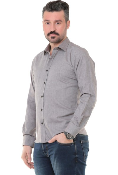 Buenza Sry Denim Slim Fit Uzun Kol Gömlek - Kahverengi