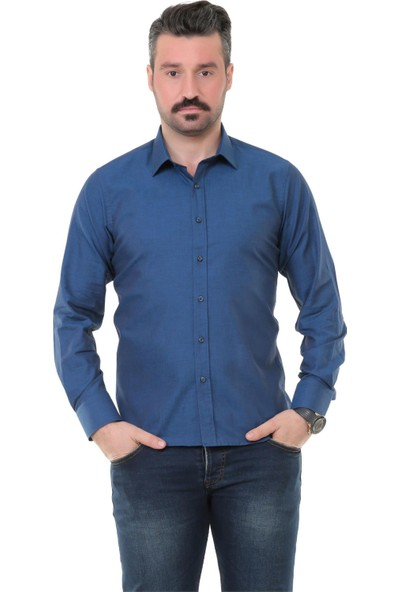 Buenza Sry Denim Slim Fit Uzun Kol Gömlek - Petrol Mavi