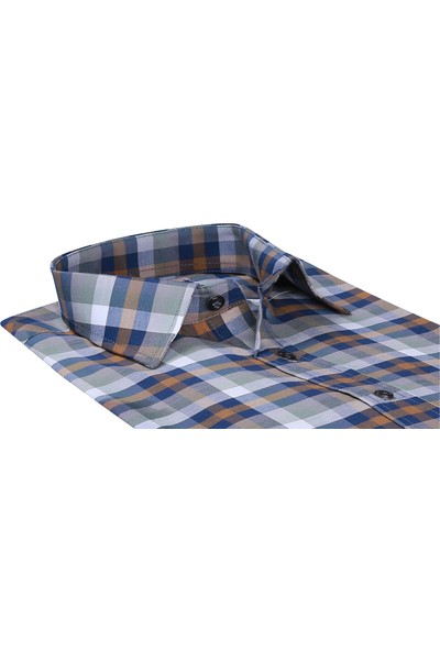 Buenza Sry Ekose 037 Slim Fit Uzun Kol Gömlek - Kahverengi