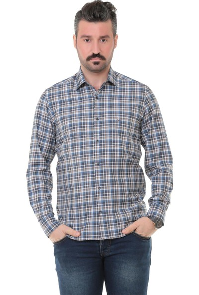 Buenza Sry Soft Ekose 014 Klasik Kesim Uzun Kol Gömlek - Kahverengi