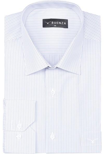 Buenza Sry Platin Cizgi P_66 Klasik Kesim Uzun Kol Gömlek - Kahverengi