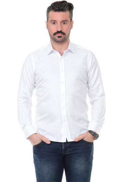 Buenza Sry 41102 Slim Fit Uzun Kol Gömlek - Beyaz