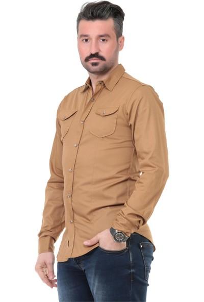 Buenza Mrk Düz Kapaklı Cep Slim Fit Uzun Kol Gömlek - Taba