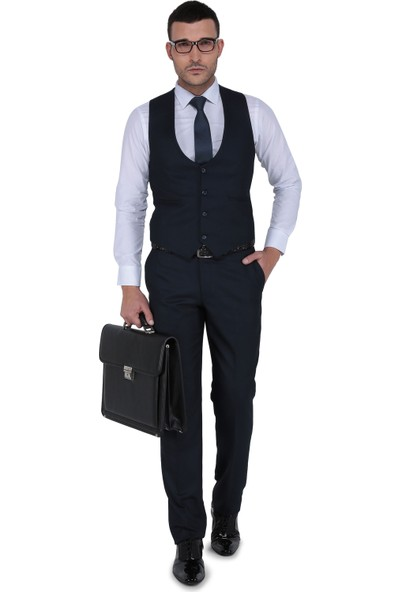 Buenza Tesla Yelekli Slim Fit Takım Elbise-Lacivert
