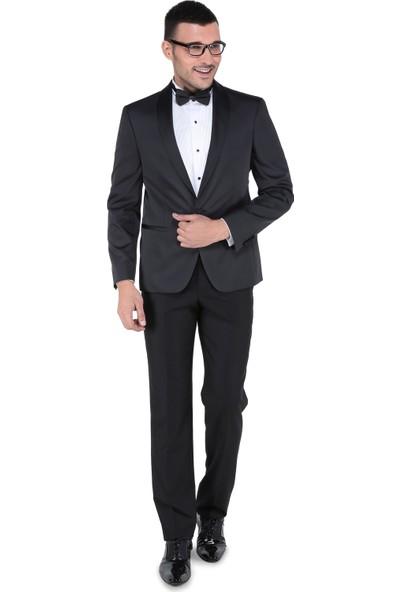 Buenza Vega Şal Yaka Smokin Set Takım Elbise-Siyah