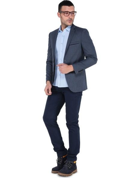 Buenza Ecr_4103 Mono Tek Yrt Slim Fit Ceket - Mavi
