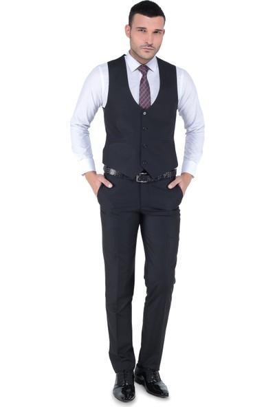 Buenza Akf Mono Yelekli Dar Kalıp Takım Elbise-Siyah