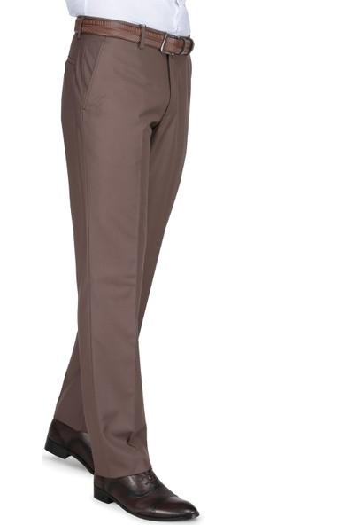 Buenza Klasik Kesim Pilesiz Kumaş Pantolon - Açık Kahve
