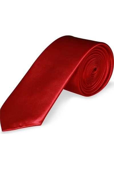 Buenza Saten 5 Cm Düz Kravat - Kırmızı