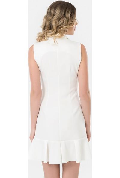 İroni Kolsuz Ekru Blazer Elbise - 5132-891 Ekru