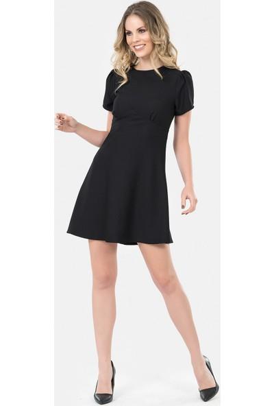 İroni Kısa Kollu Siyah Evaze Elbise - 5170-1220 Siyah