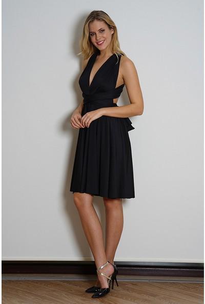 Anıl Siyah Farklı Kısa Elbise AN5405