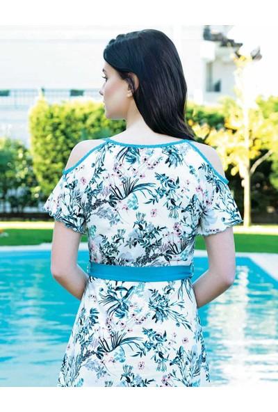 Şahinler Çiçek Desenli Kadın Elbise MBP24006-1