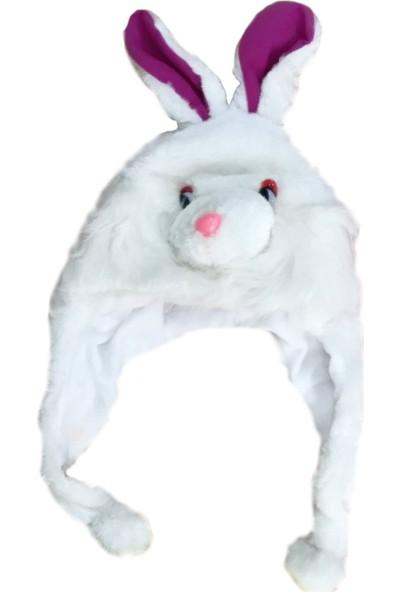Ayd Peluş Renkli Kız Çocuk Şapkası - Beyaz Tavşan