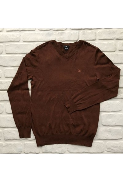 Dc Lafferty Slim Fit V Neck Sweater Mahogany Kazak