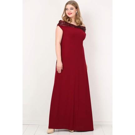 ef671ef0143fb Kl126P Büyük Beden Öpücük Yaka Payetli Likralı Uzun Abiye Elbise Bordo