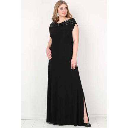 4aada1a379d81 Kl126P Büyük Beden Öpücük Yaka Payetli Likralı Uzun Abiye Elbise Siyah