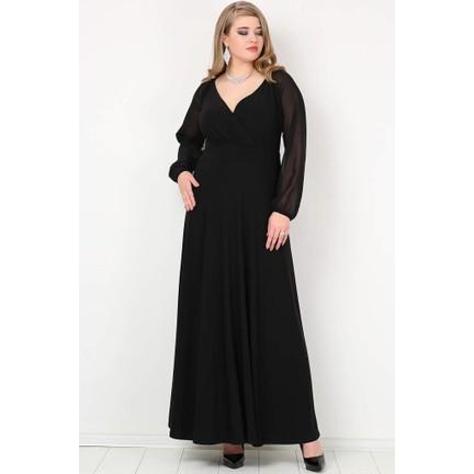 a54f08a4e0d8b Kl59S Büyük Beden Abiye Kolları Şifon Uzun Abiye Elbise Fiyatı