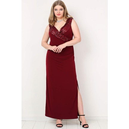 a0fd782b15735 Kl790 Büyük Beden Payetli Uzun Abiye Elbise Bordo Fiyatı