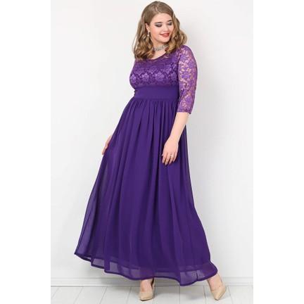 da9410c0f4591 Kl4009K Büyük Beden Şifon Likralı Uzun Abiye Elbise Mor Fiyatı