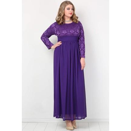 58b8ce07736ec Kl4009T Büyük Beden Tesettür Şifon Likralı Uzun Abiye Elbise Fiyatı