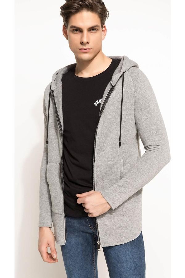 DeFacto Men's Hooded Long Sweatshirt Gray