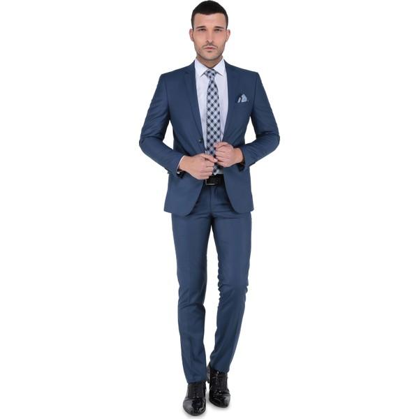 e4c8c851e4fe3 Buenza 6 Drop Dar Kalıp - Slim Fit - Erkek Takım Elbise - Parlament - 54