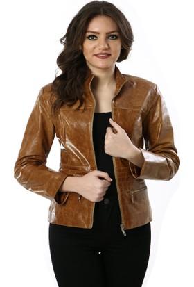 Deriza Outlet Holly Taba Kadın Deri Ceket