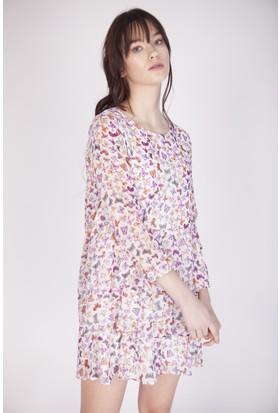 Cream&Rouge 16K721 Önü 3 Kat Fırfırlı Elbise
