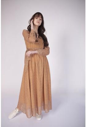 Cream&Rouge 17Y280 Şifon Desenli Vatkalı V Yaka Elbise