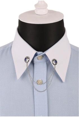La Pescara Mavi Kristal Taşlı Zincirli Gümüş Renk Gömlek Yaka İğnesi Gı082
