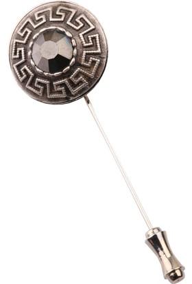 La Pescara Gümüş Eskitme Füme Taşlı Yaka İğnesi Yı189
