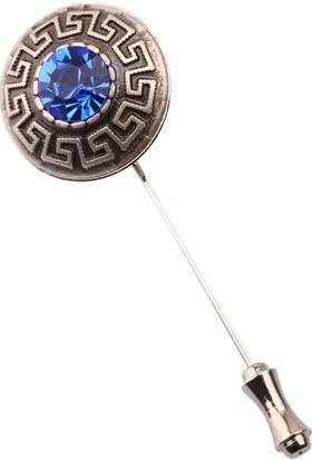 La Pescara Gümüş Eskitme Mavi Taşlı Yaka İğnesi Yı144